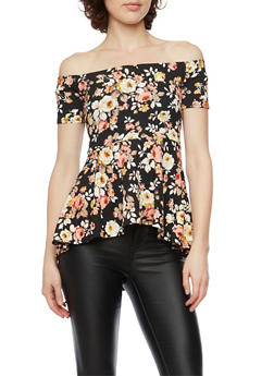 Off the Shoulder Peplum Top in Floral Print - TAUPE BLK - 1402072245921