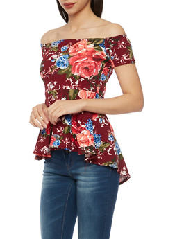 Off the Shoulder Peplum Top in Floral Print - BURGUNDY - 1402072245921