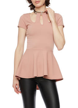 Choker Neck Peplum Top - 1402072245922