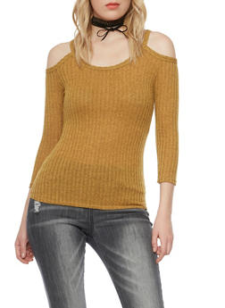 Cold Shoulder Top in Ribbed Knit - MUSTARD - 1402072245994