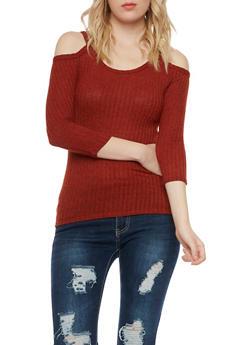 Cold Shoulder Top in Ribbed Knit - 1402072245994