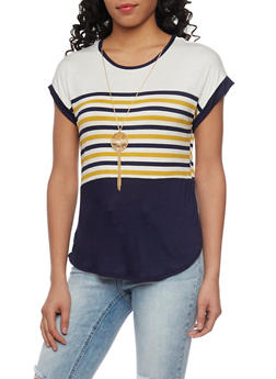 Striped Color Block Top with Necklace - 1402072246018