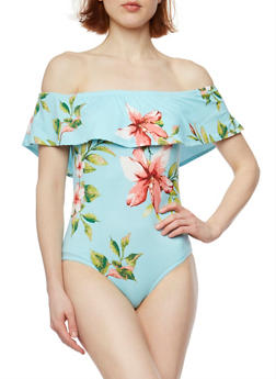 Ruffled Off the Shoulder Floral Bodysuit - 1402072246086