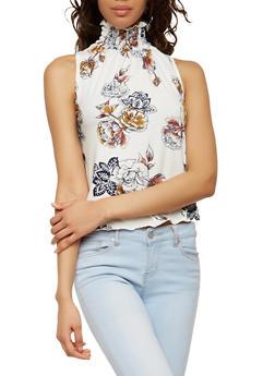Smocked Neck Floral Top - 1402072246213