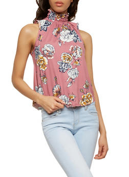 Smocked Neck Floral Top - 1402072246213