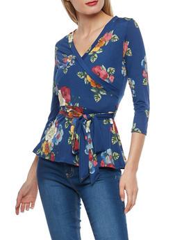 Floral Faux Wrap Front Top - 1402072246661