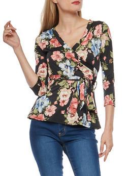 Floral Faux Wrap Tie Waist Top - 1402072246662