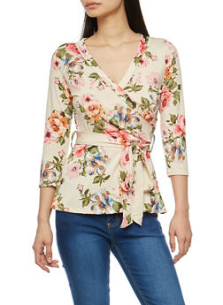 Floral Faux Wrap Tie Waist Top - 1402072246662