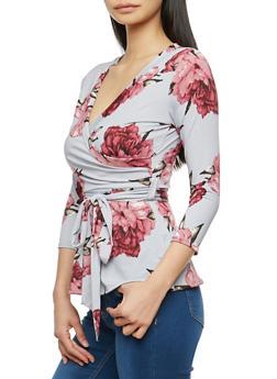 Peonies Print Faux Wrap Tie Waist Top - 1402072246664