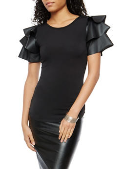 Faux Leather Tiered Sleeve Top - 1402072246682