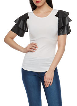 Faux Leather Tiered Sleeve Top - WHITE/BLACK - 1402072246682