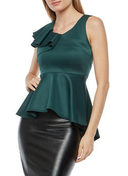 Sleeveless Ruffled Peplum Top - 1402072246688