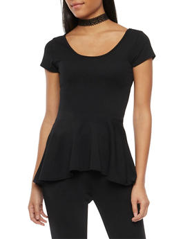 High Low Peplum Top with Lace Choker - 1402072247181