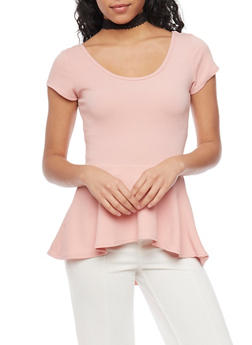 High Low Peplum Top with Lace Choker - ROSE - 1402072247181