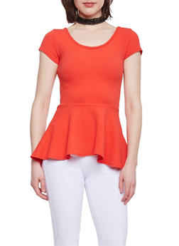 High Low Peplum Top with Lace Choker - TANGERINE - 1402072247181