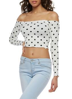 Off the Shoulder Polka Dot Crop Top - 1402072249966