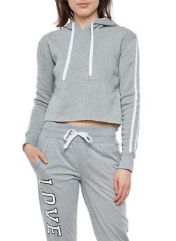 Varsity Stripe Cropped Hooded Sweatshirt - 1402072290226