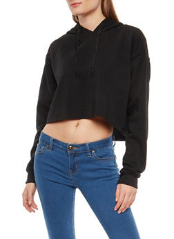 Fleece Lined Crop Sweatshirt - 1402072291122