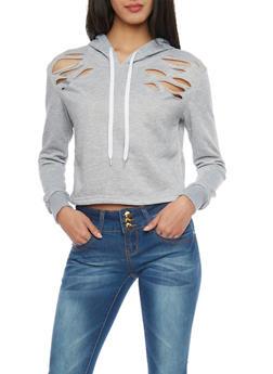 Melange Ripped Cropped Drawstring Hoodie - 1402072298787
