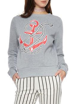 Long Sleeve Nautical Theme Sweatshirt - 1402072298789