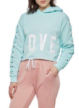 Love Graphic Lace Up Sleeve Sweatshirt - 1402072299949