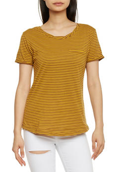 Striped Short Sleeve T Shirt - MUSTARD - 1402073131016