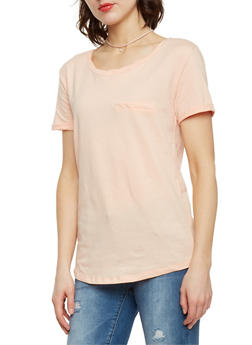 Solid Cuffed Short Sleeve T Shirt - 1402073131017