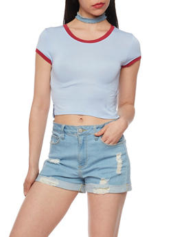 Ringer Crop Top with Side Slits - 1402073131118
