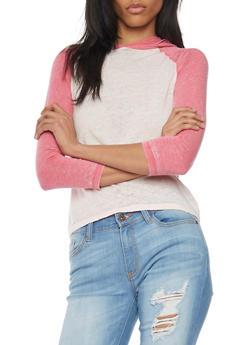 Three Quarter Sleeve Colorblock Hooded Top - 1402073131602