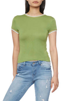 Cropped Ringer T Shirt with Striped Trim - OLIVE - 1402073132216