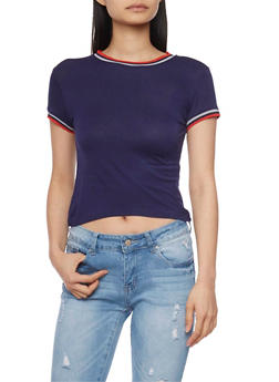 Cropped Ringer T Shirt with Striped Trim - 1402073132216
