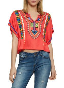 Short Sleeve Dashiki Print Kimono Top - 1402073132516