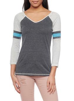 Raglan Varsity Striped Burnout T Shirt - 1402073136210