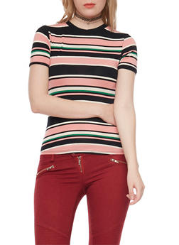 Striped Tee with Crew Neck - 1402073136214