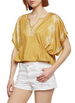 Short Sleeve Printed V Neck Top - MUSTARD - 1402073138516