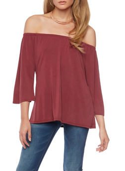 Solid Off the Shoulder Top - WINE - 1402073306044