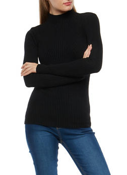 Ribbed Knit Mock Neck Sweater - 1403054210698