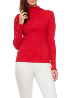 Mock Neck Ribbed Sweater - 1403054217391