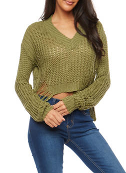 Distressed High Low Sweater - OLIVE - 1403061350023