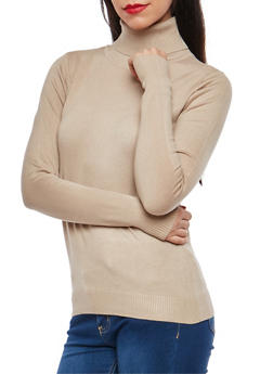 Solid Turtleneck Sweater - 1403062707008