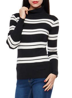 Striped Turtleneck Sweater - 1403062707025