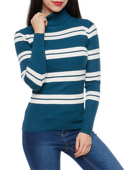 Striped Turtleneck Sweater - 1403062707025