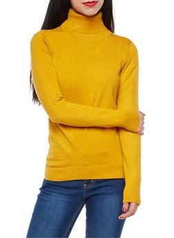 Solid Turtleneck Sweater - 1403062708008