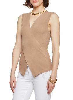 Sleeveless Cross Front Rib Knit Sweater - 1403069395069