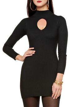 Rib-Knit Keyhole Cutout Turtleneck Bodycon Dress,BLACK,medium