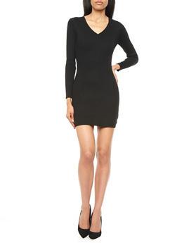 V-Neck Rib-Knit Bodycon Dress With Long Sleeves,BLACK,medium