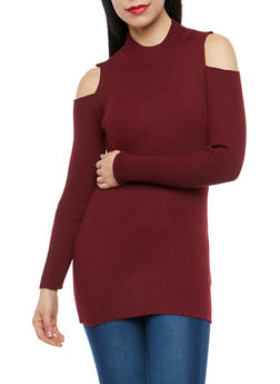 Cold Shoulder Tunic Sweater - 1403072290088