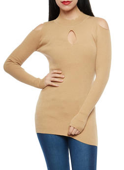 Keyhole Cold Shoulder Tunic Sweater - 1403072290095