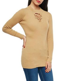 Rib Knit Keyhole Tunic Sweater - 1403072290930