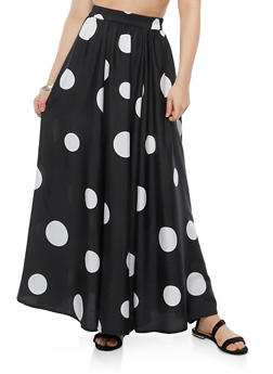 Polka Dot Maxi Skirt - 1406056126597